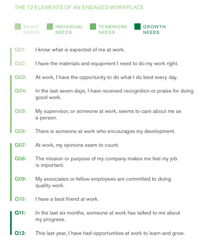 Gallup 12 Elements Engaged Workforce