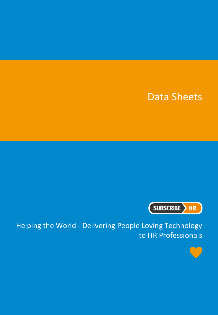 Subscribe-HR-HR Software Data Sheets