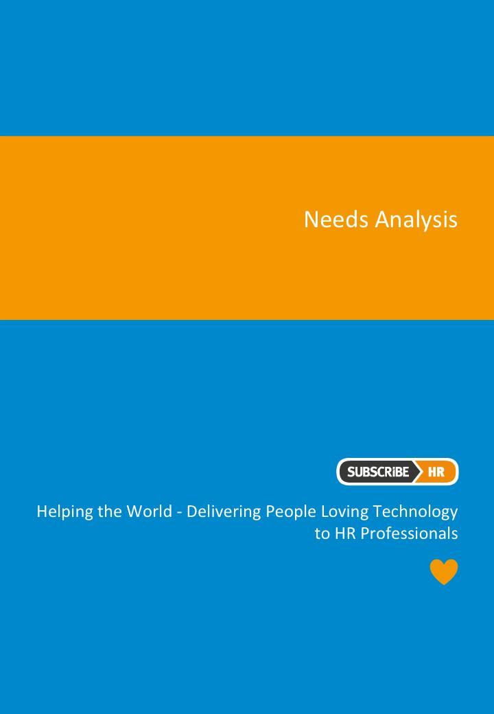 Subscribe-HR HR Software Needs Analysis